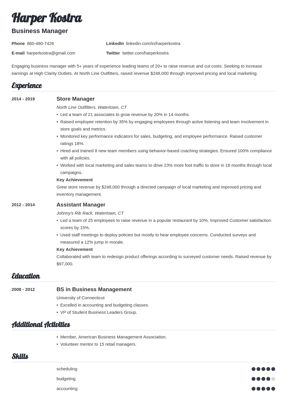business manager resume example template valera