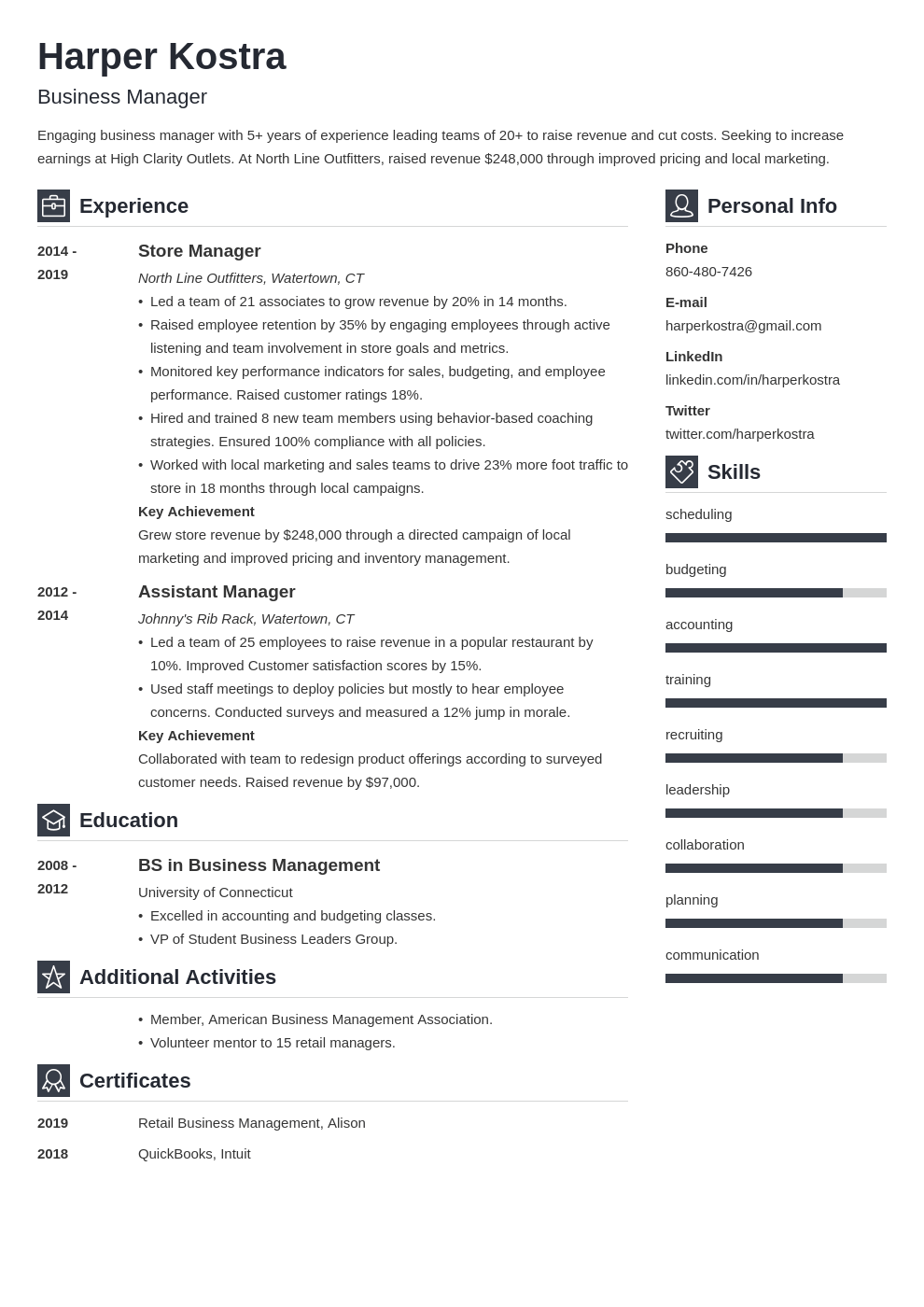 business manager resume example template vibes