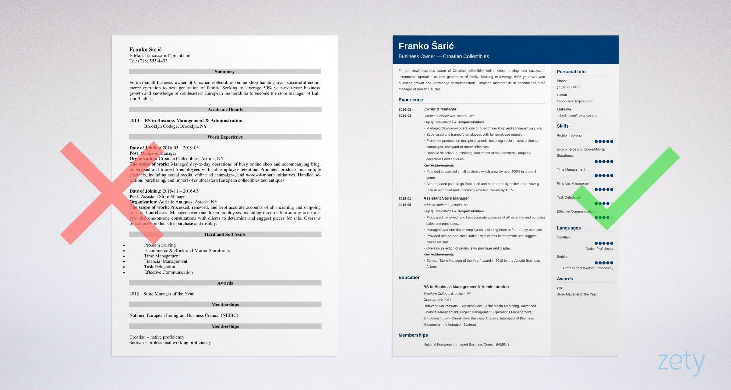 former business owner resume templates