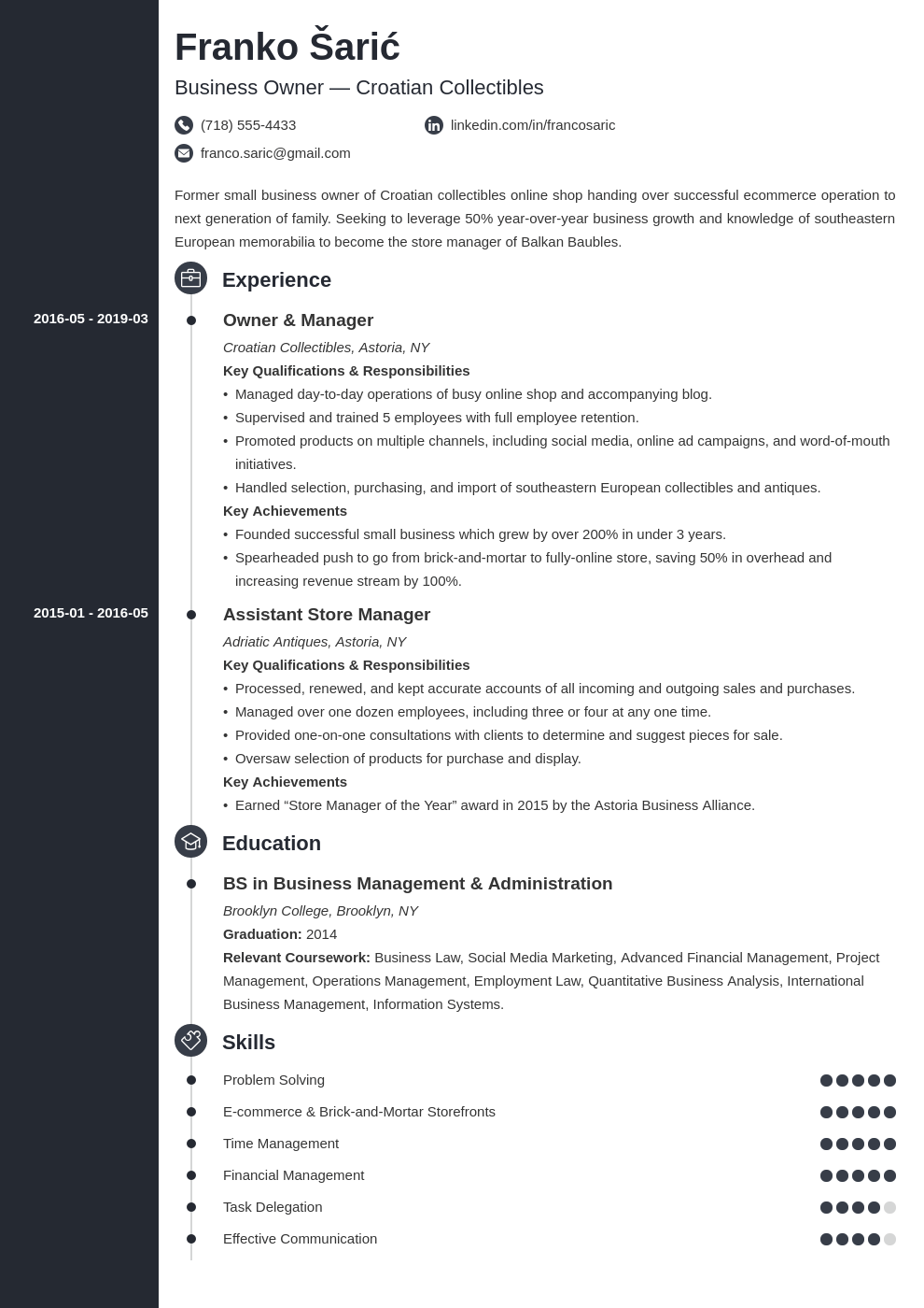 business owner resume example template concept
