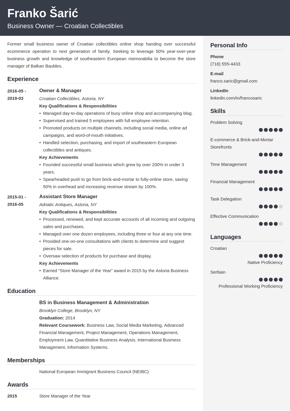 business owner resume example template cubic