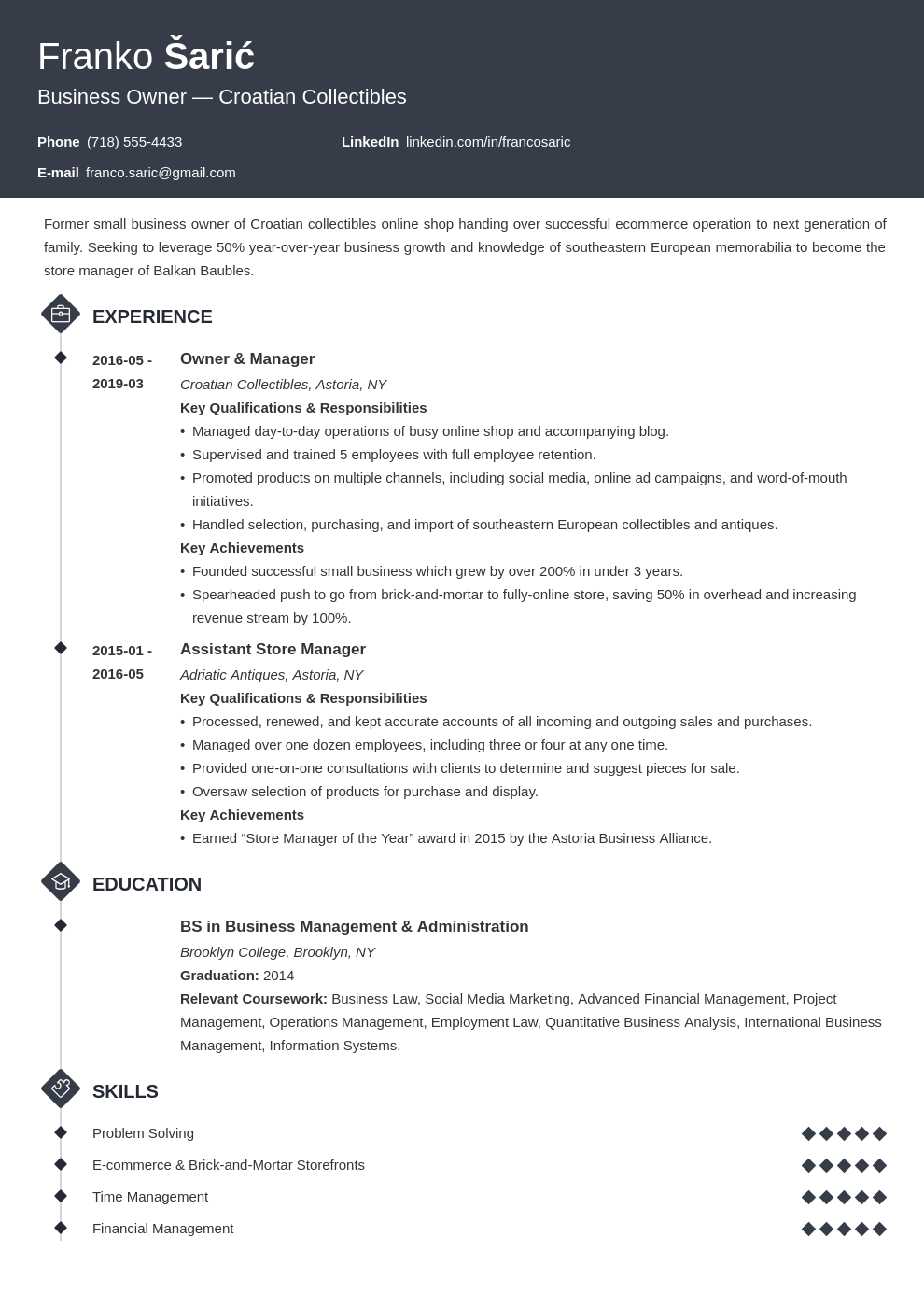 business owner resume example template diamond