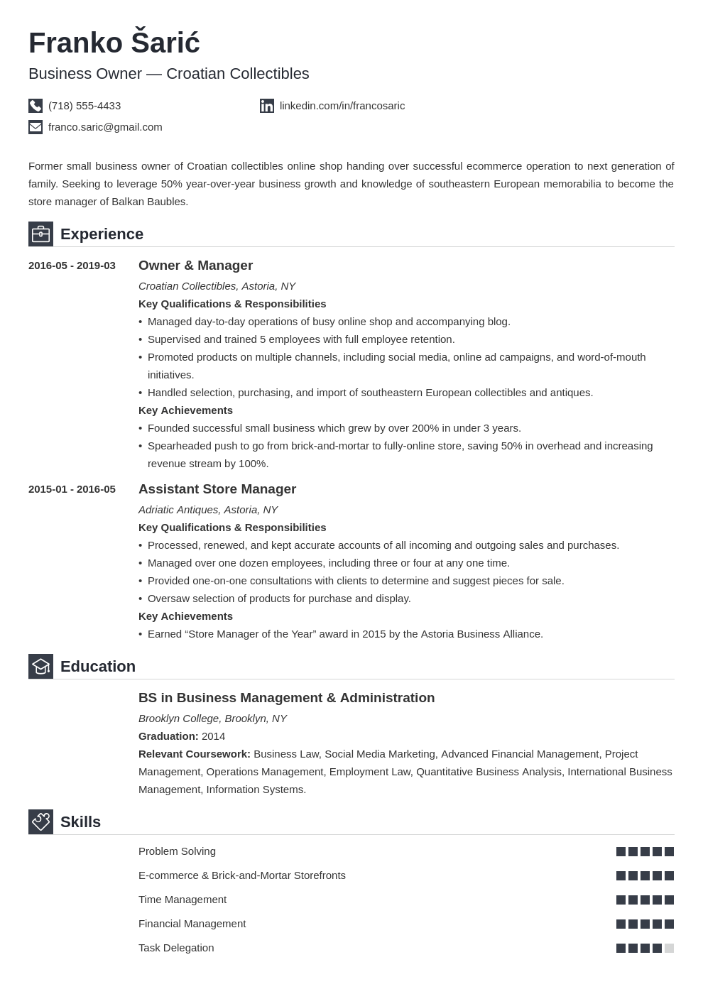 business owner resume example template iconic