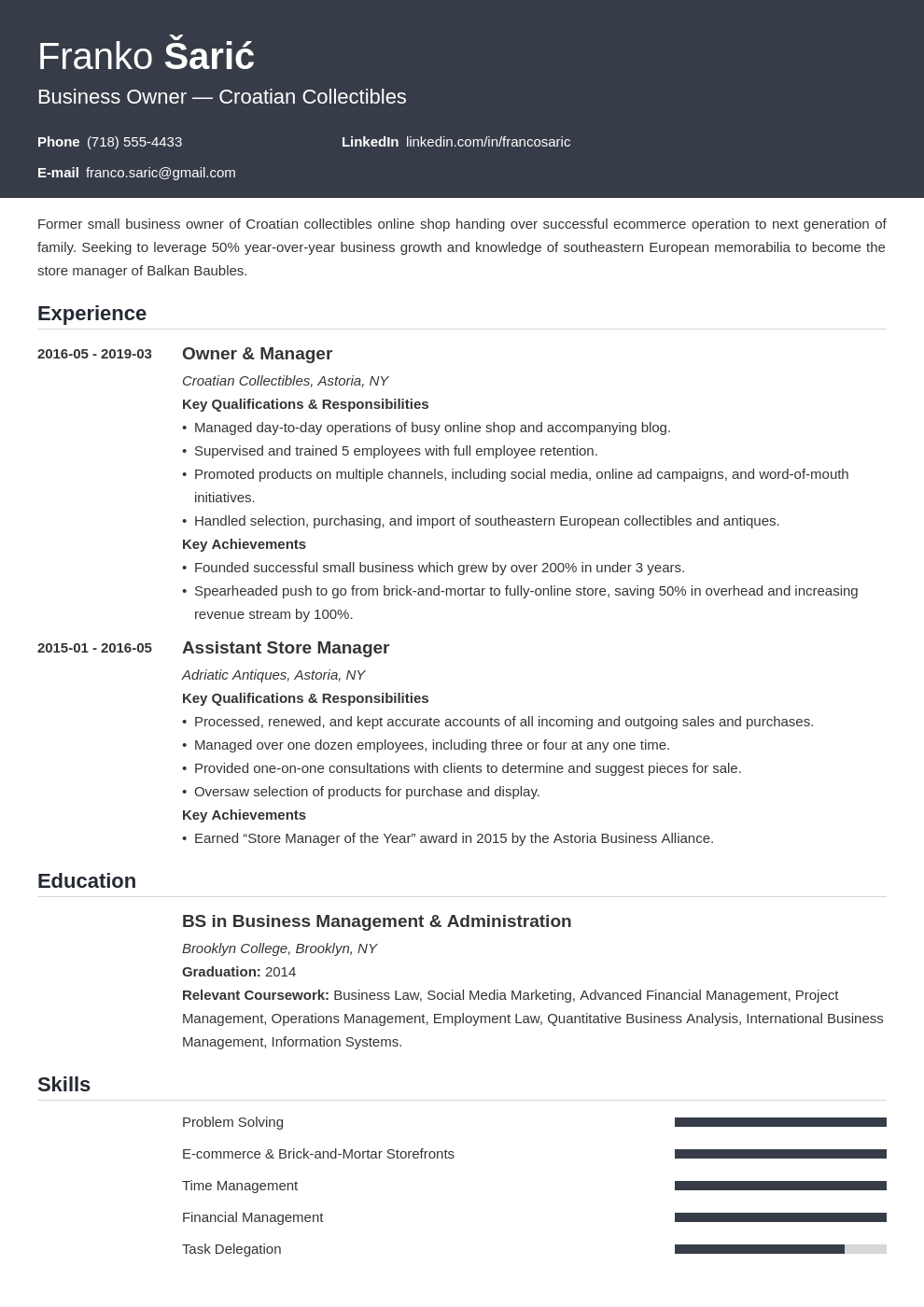 business owner resume example template influx