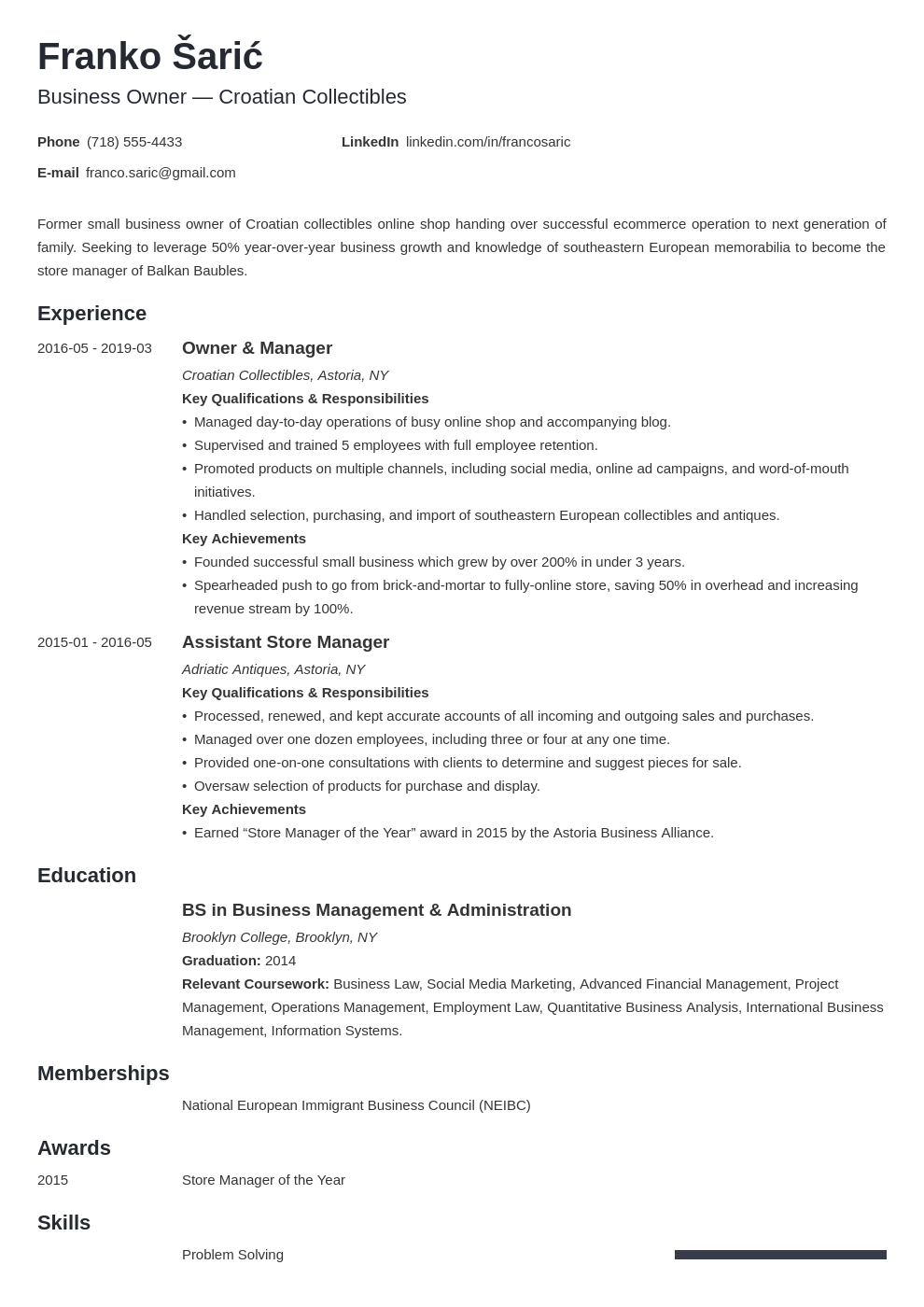 business owner resume example template minimo