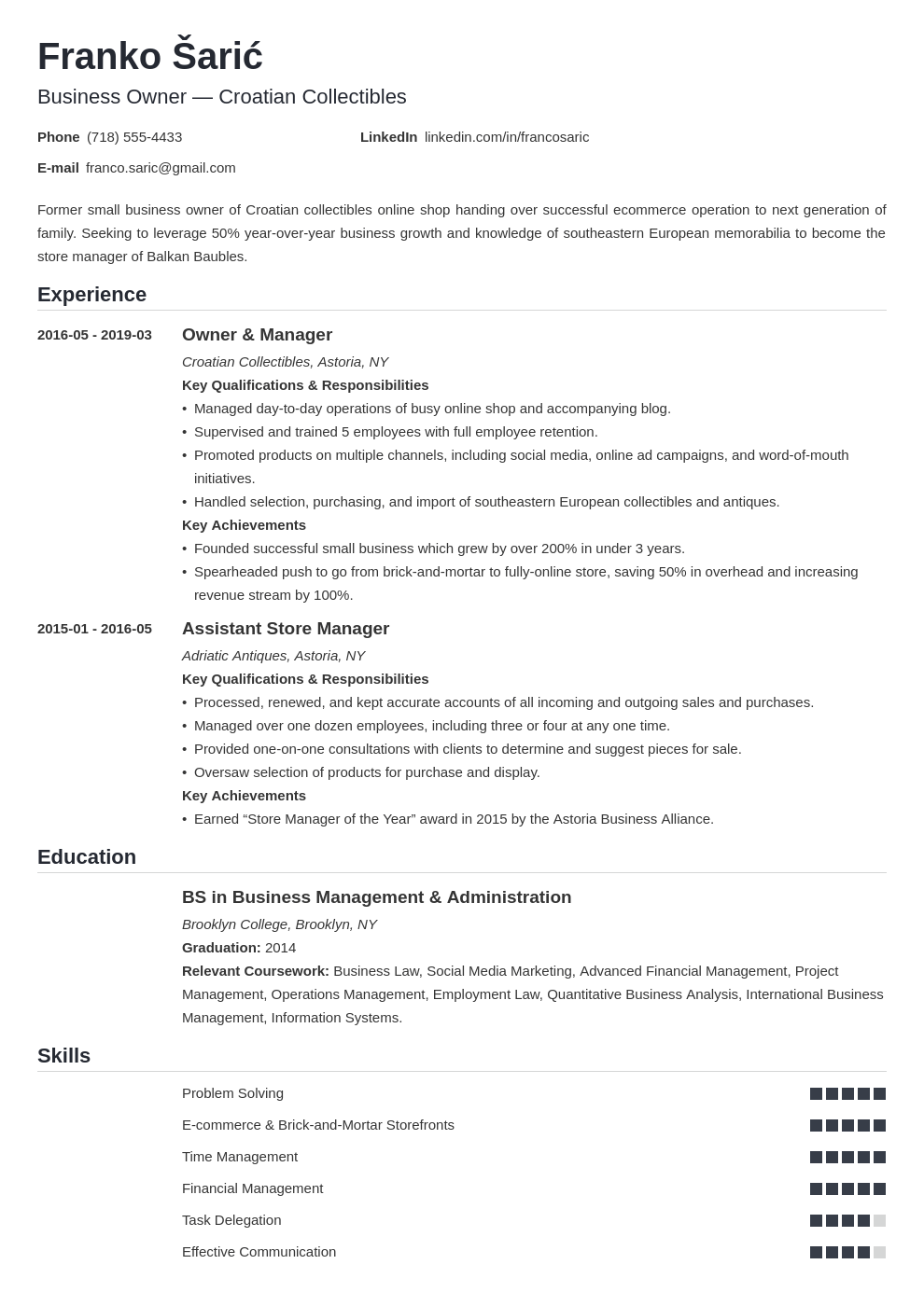 business owner resume example template nanica
