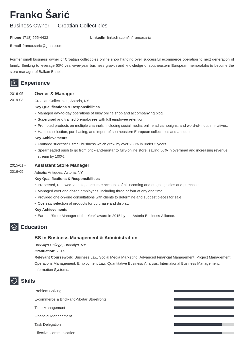 business owner resume example template newcast