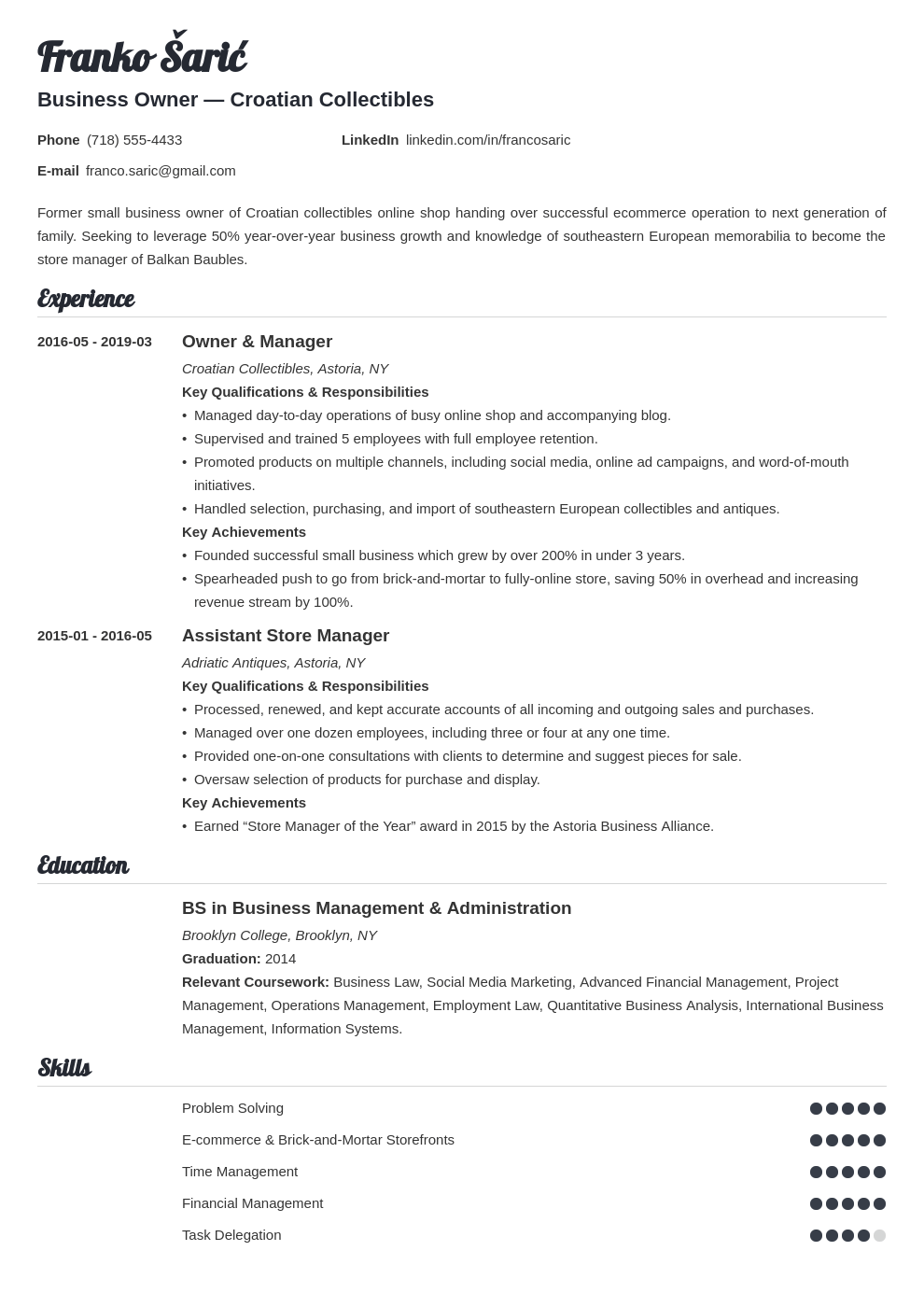 business owner resume example template valera