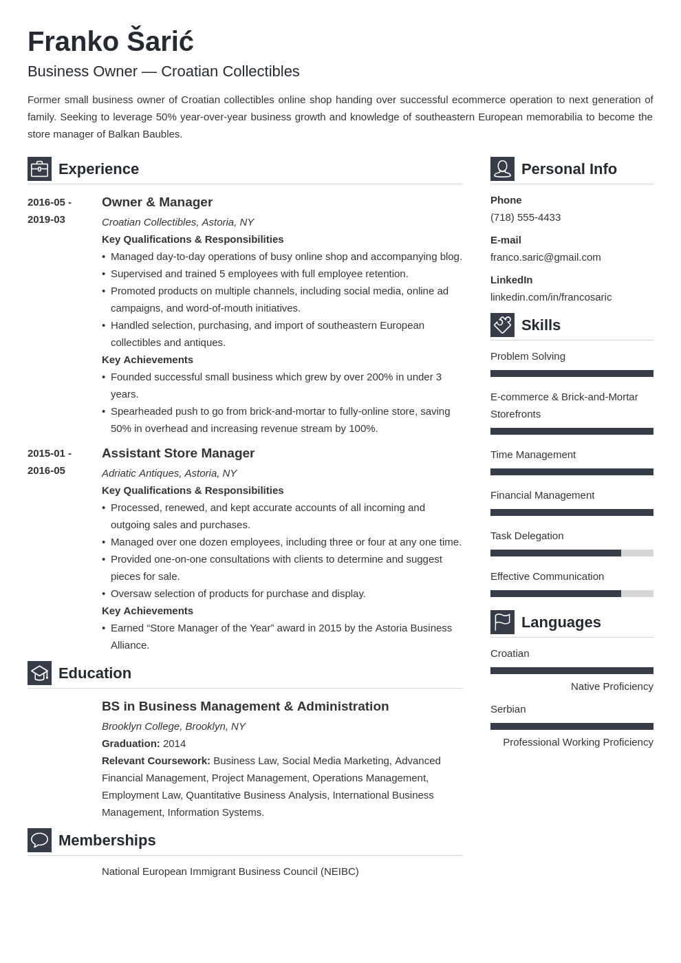 business owner resume example template vibes