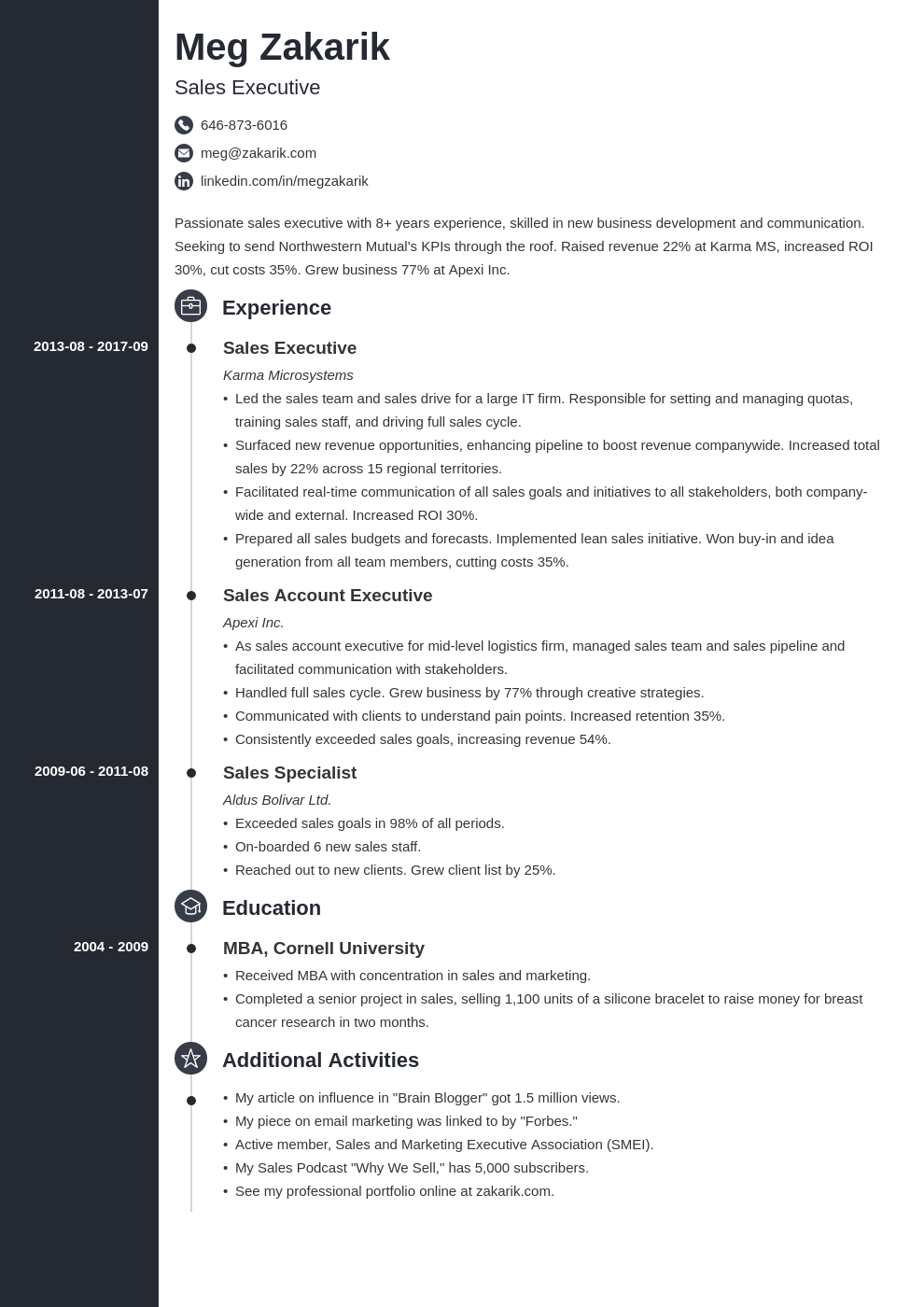 business resume example template concept