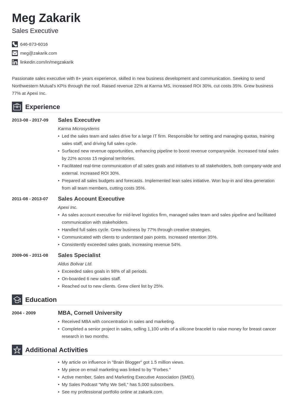 business resume example template iconic