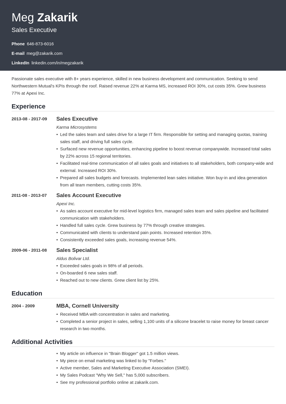 business resume example template influx