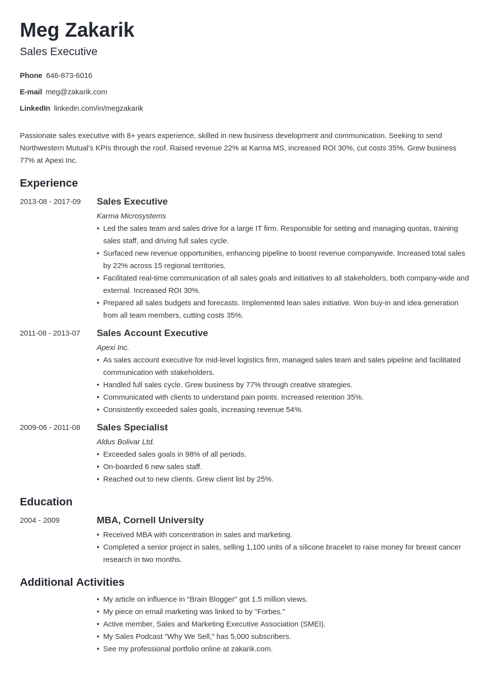 business resume example template minimo