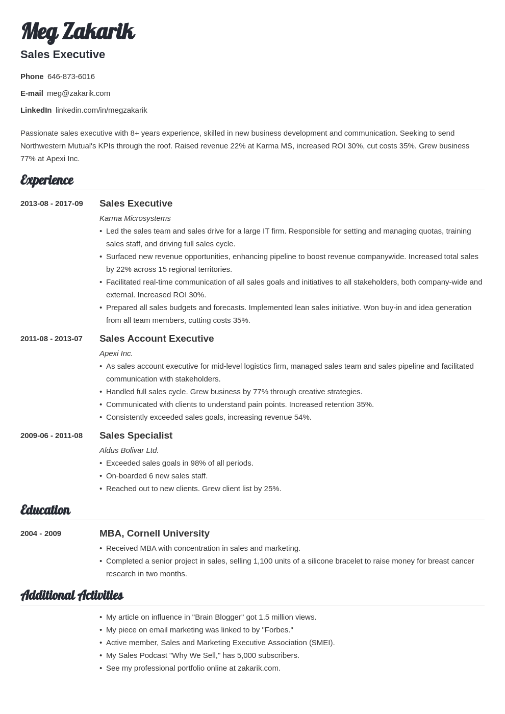 business resume example template valera