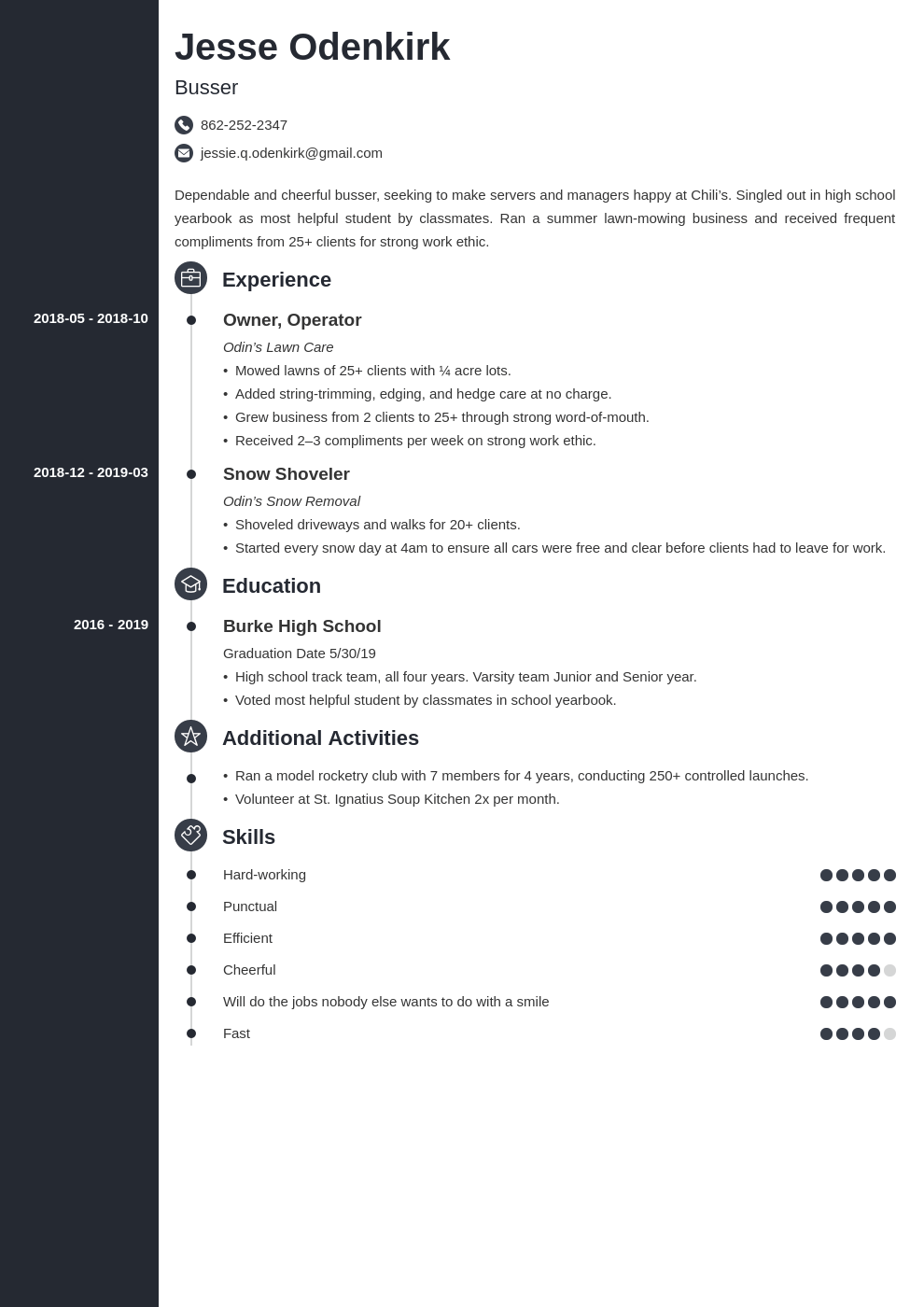 busser resume example template concept