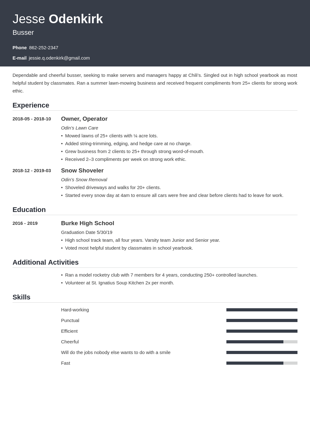 busser resume example template influx