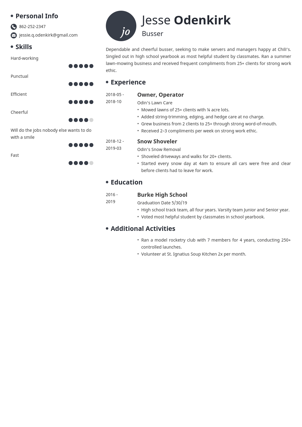 busser resume example template initials