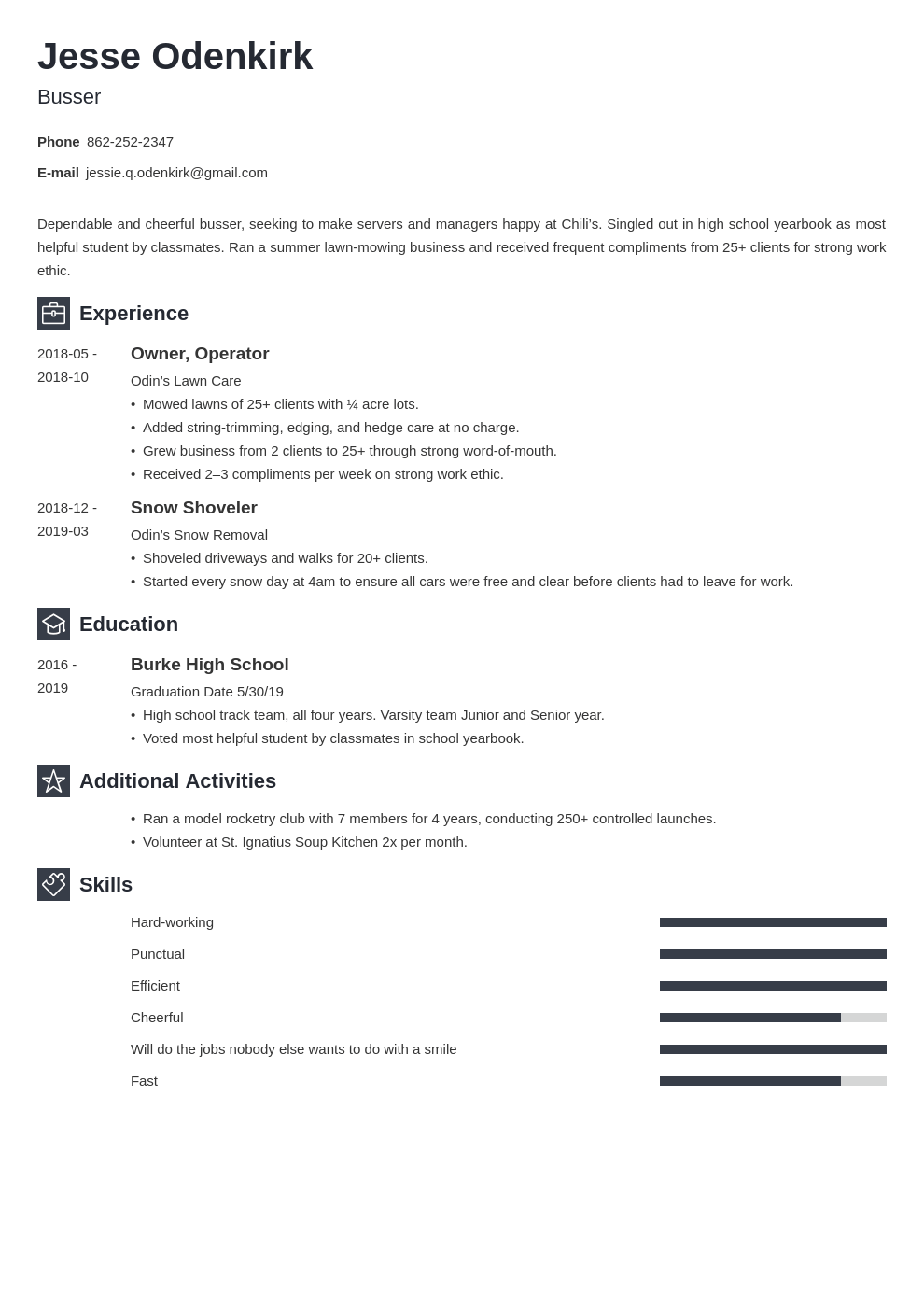 busser resume example template newcast