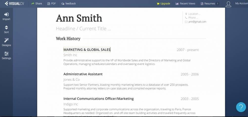 Example Of Resume Sample Made In Visualcv App  Sheryl Sandberg Resume