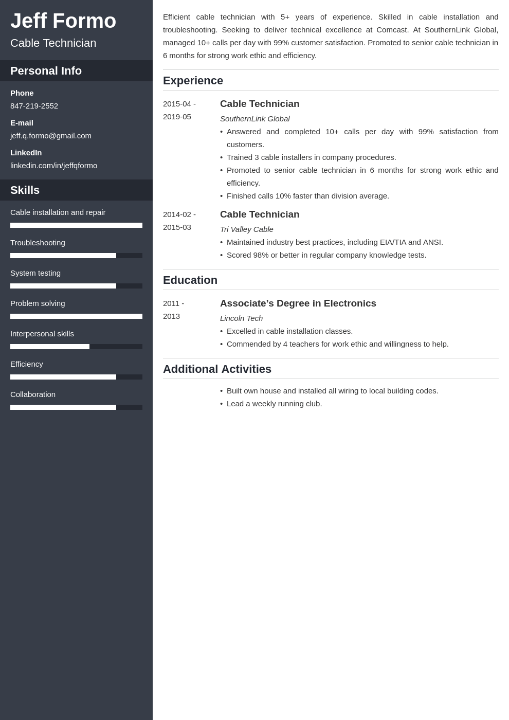 cable technician resume example template cascade