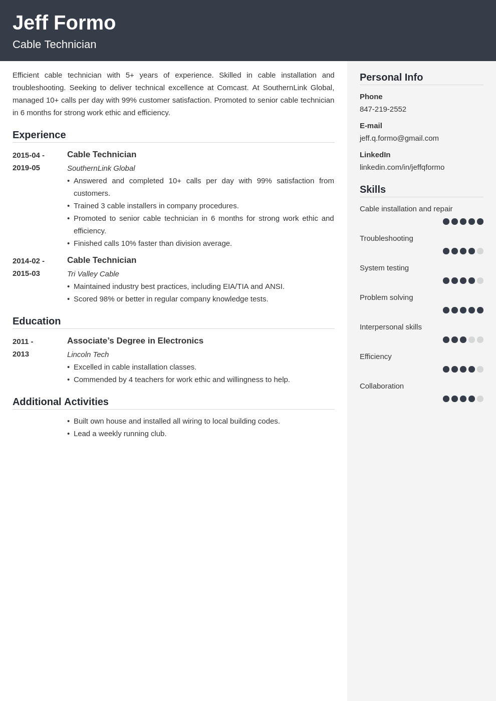 cable technician resume example template cubic