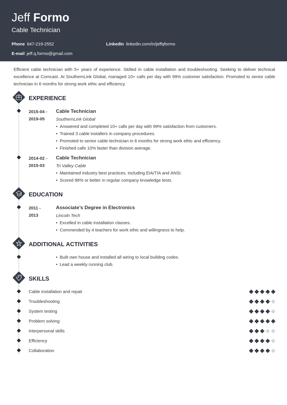 cable technician resume example template diamond