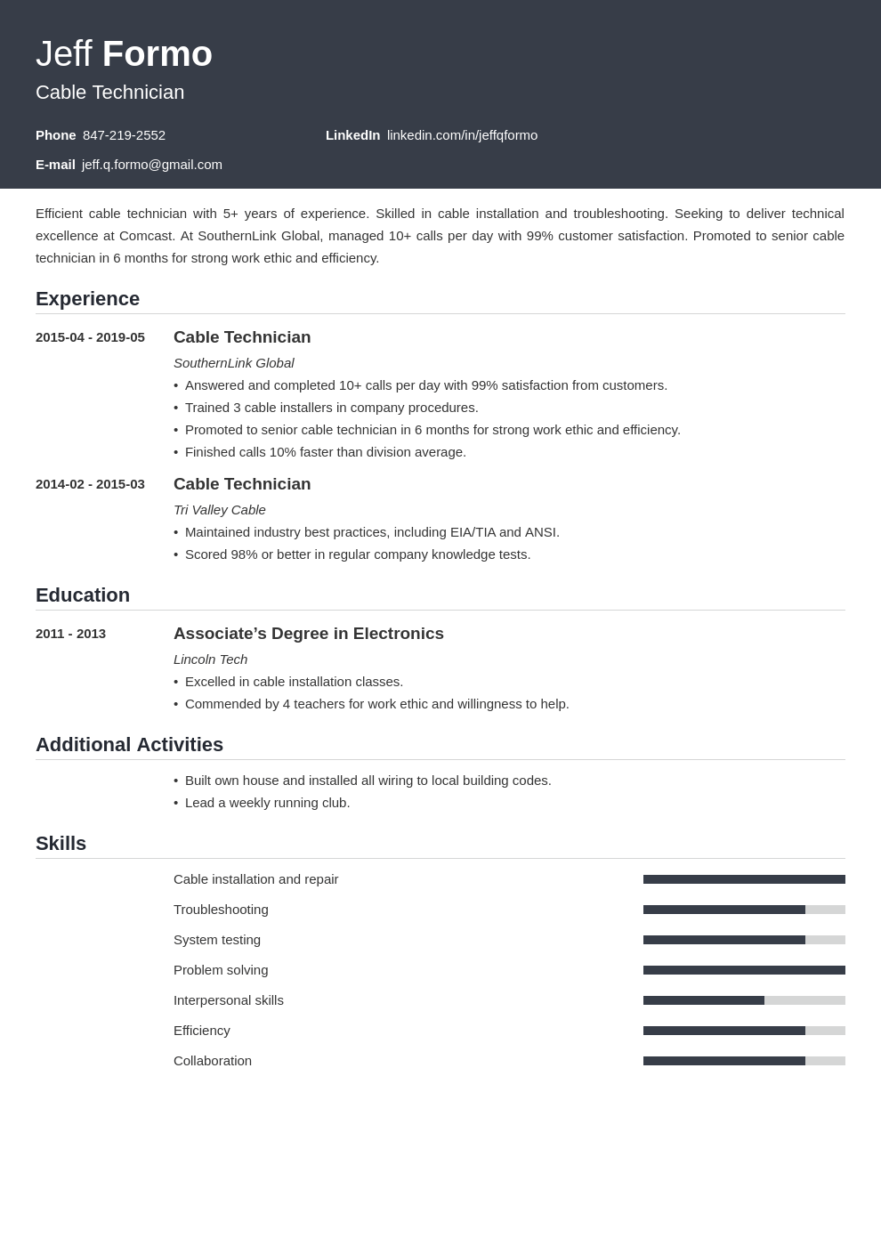 cable technician resume example template influx