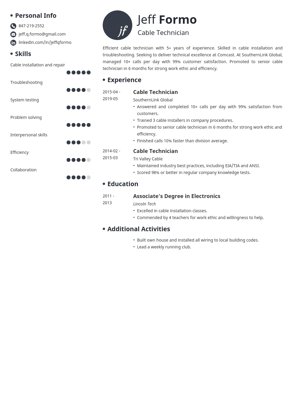 cable technician resume example template initials