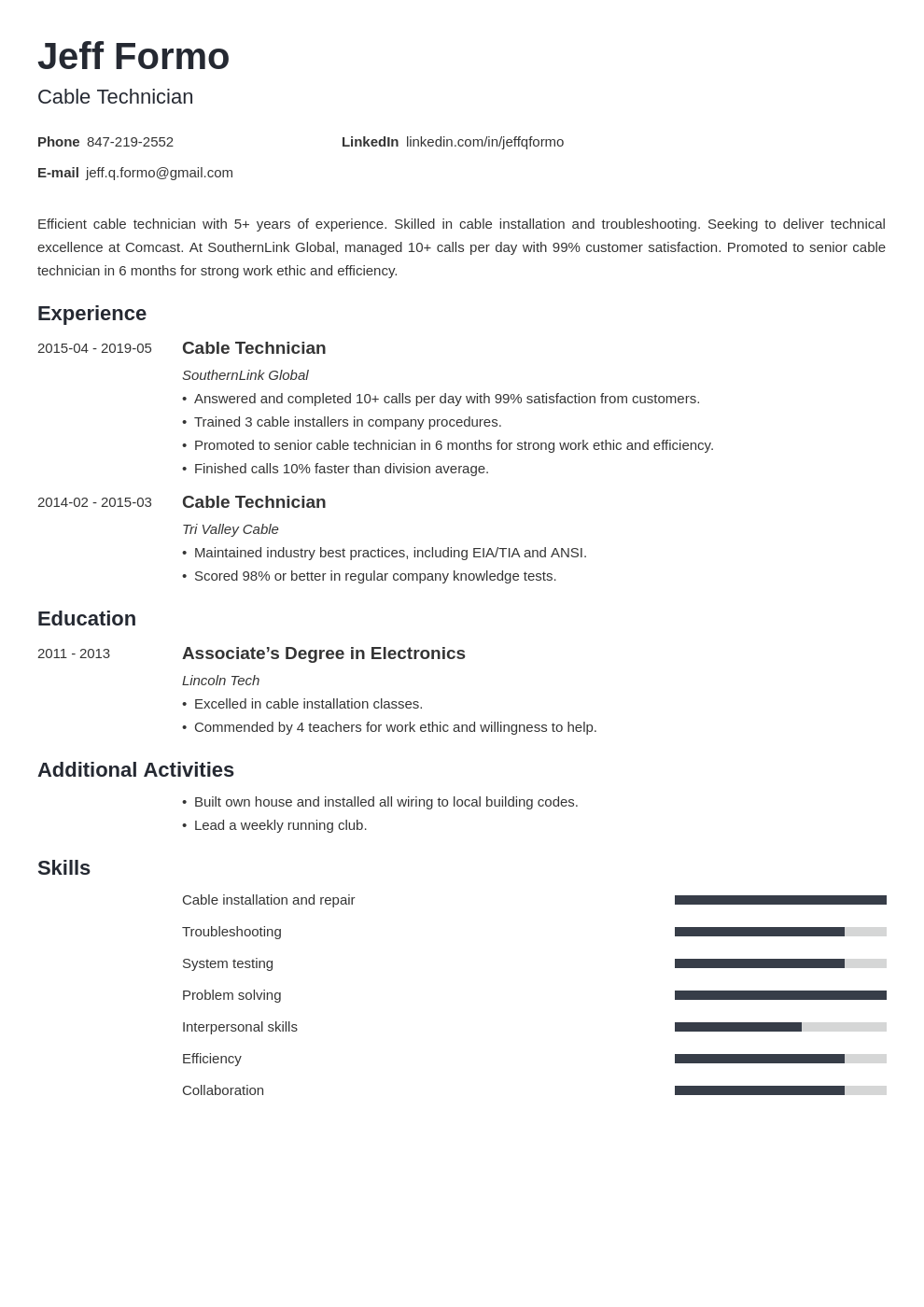 cable technician resume example template minimo