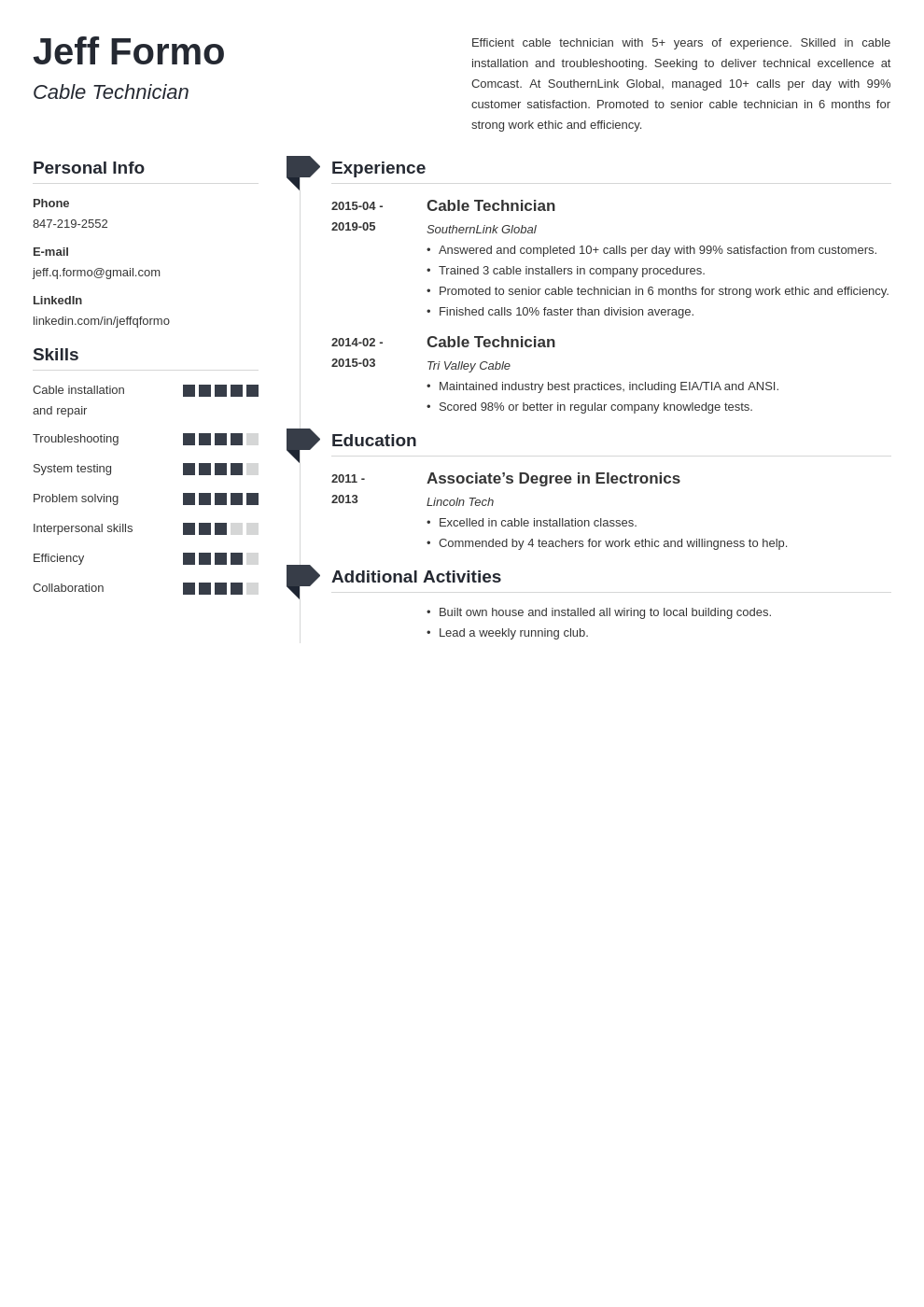 cable technician resume example template muse