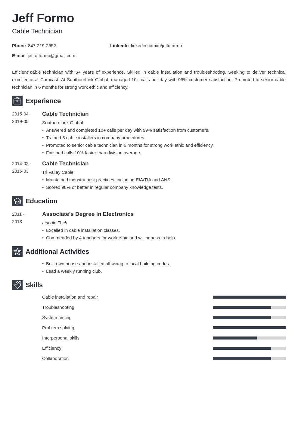 cable technician resume example template newcast