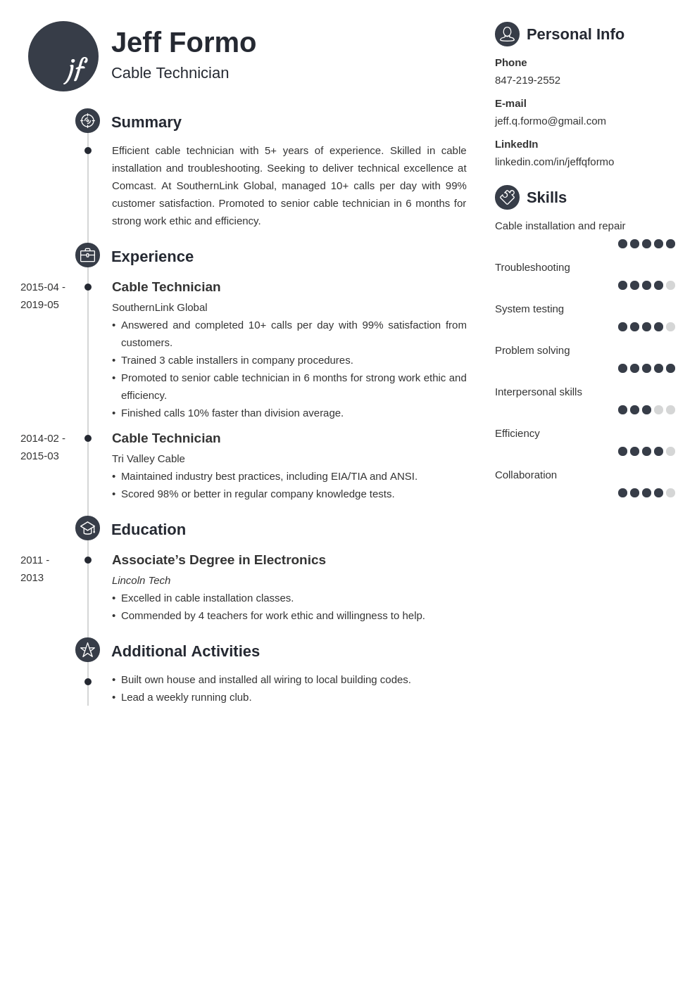 cable technician resume example template primo
