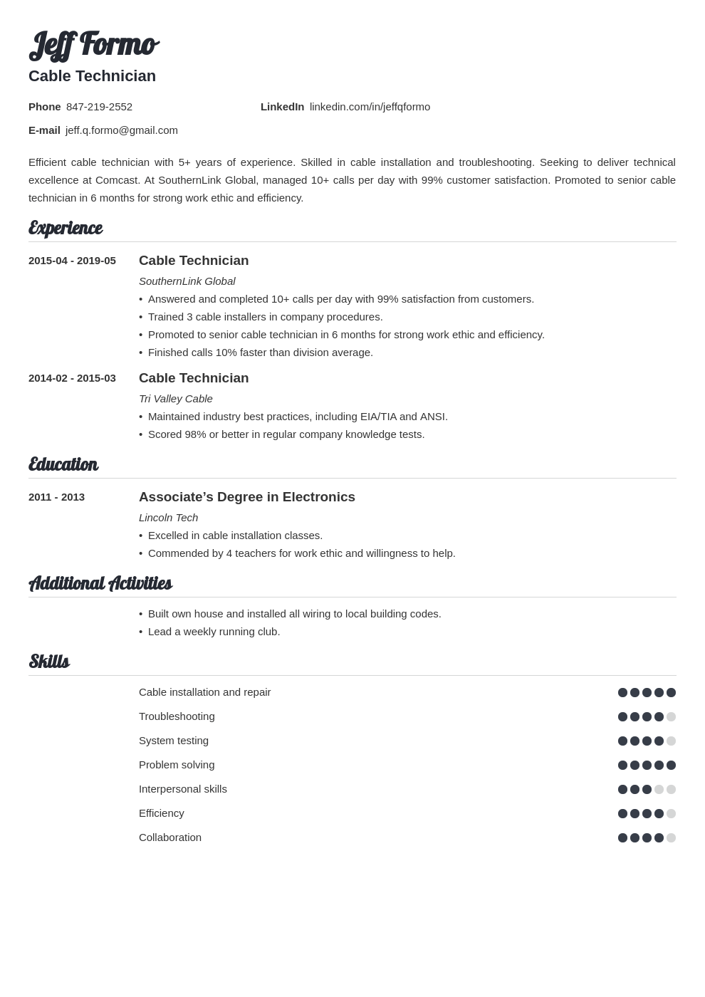 cable technician resume example template valera