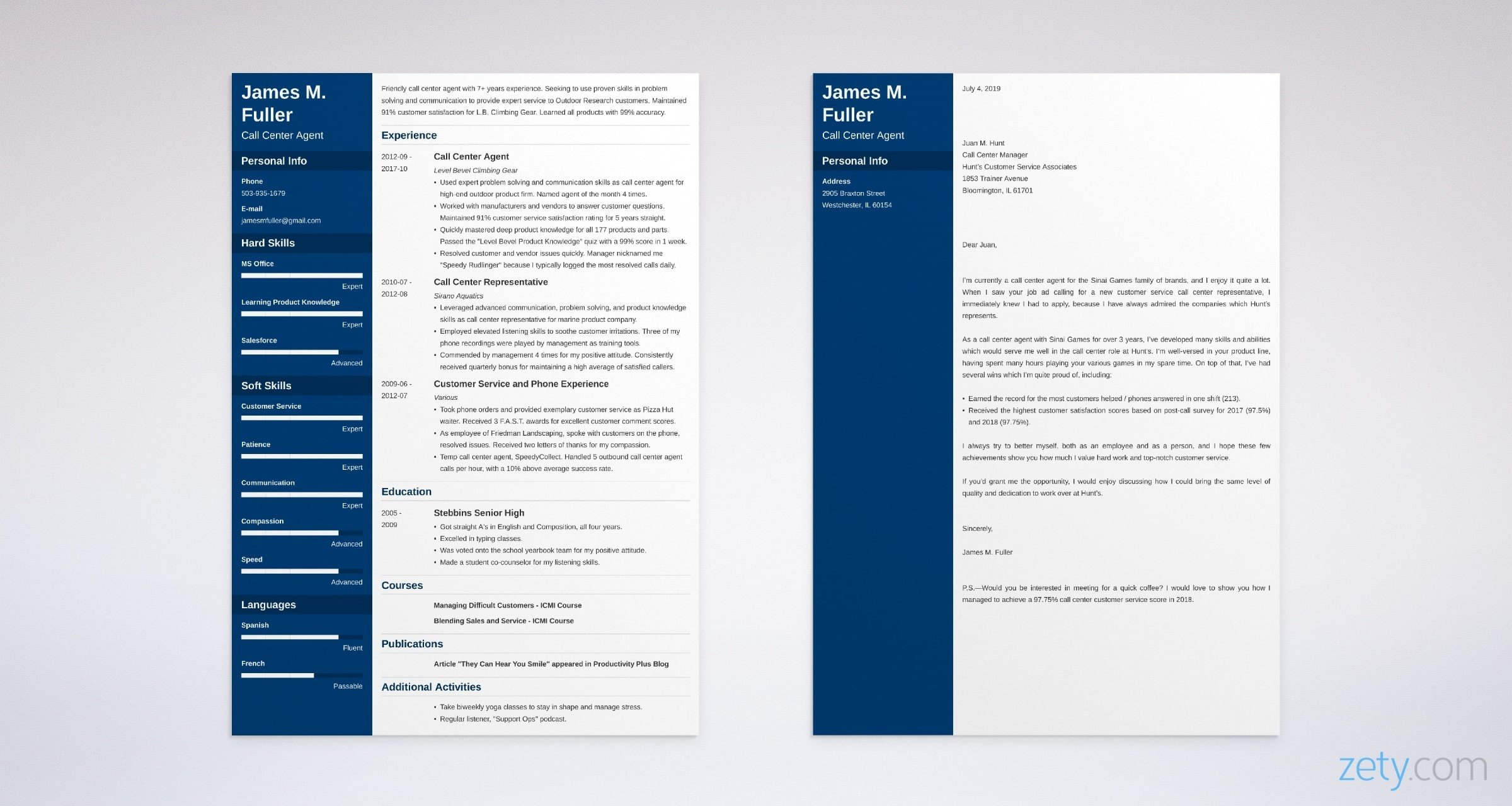 call center resume and cover letter set