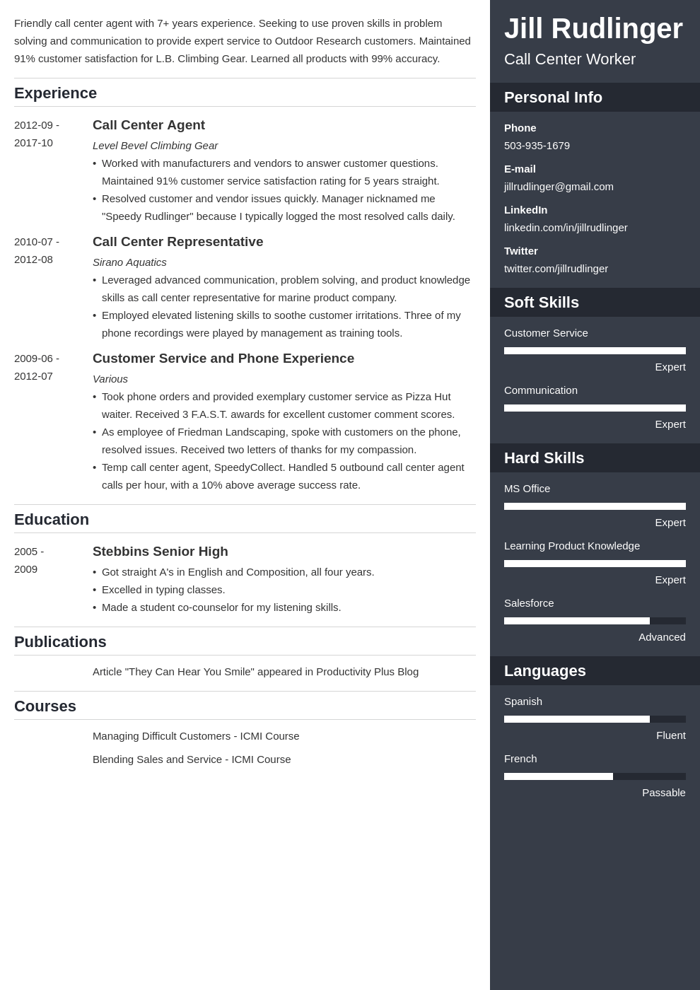 call center resume example template enfold