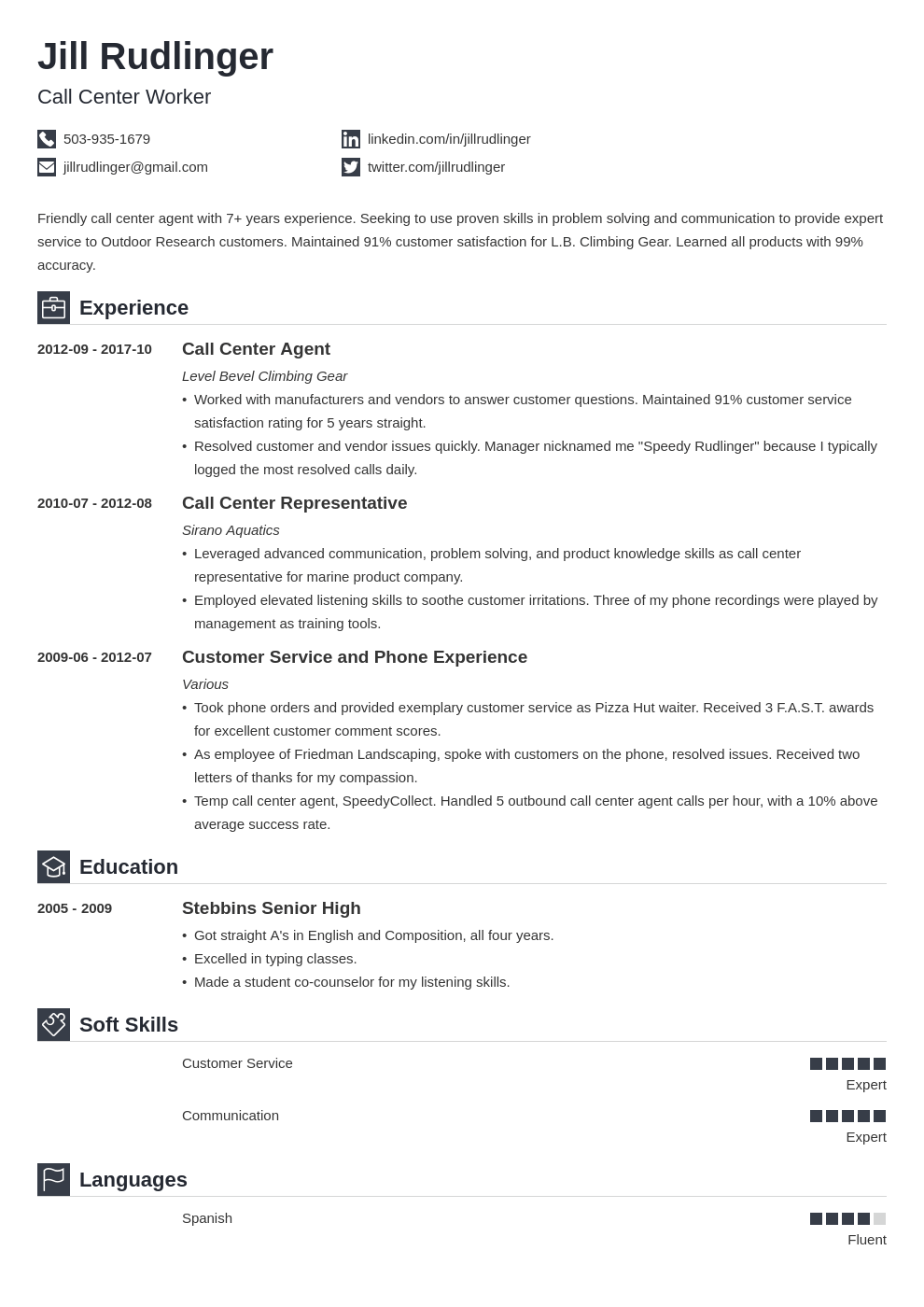 call center resume example template iconic