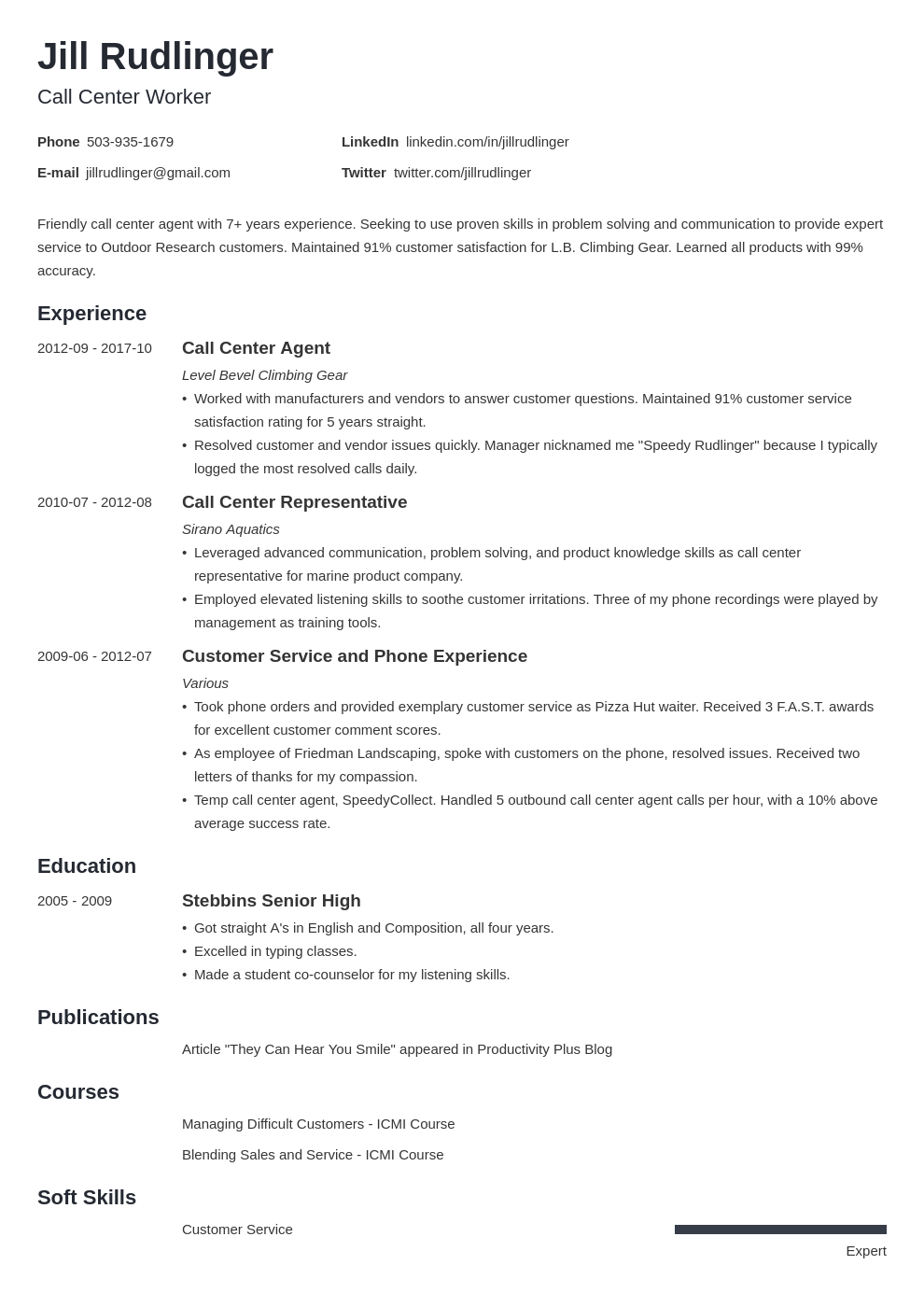 Call Center Resume Examples Skills Job Description