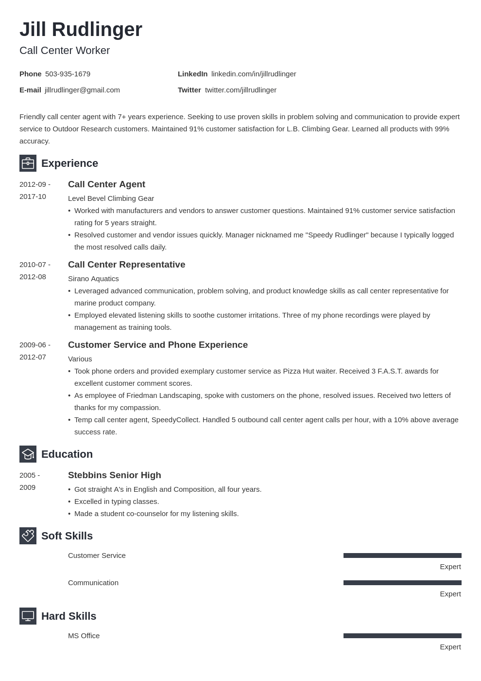 call center resume example template newcast