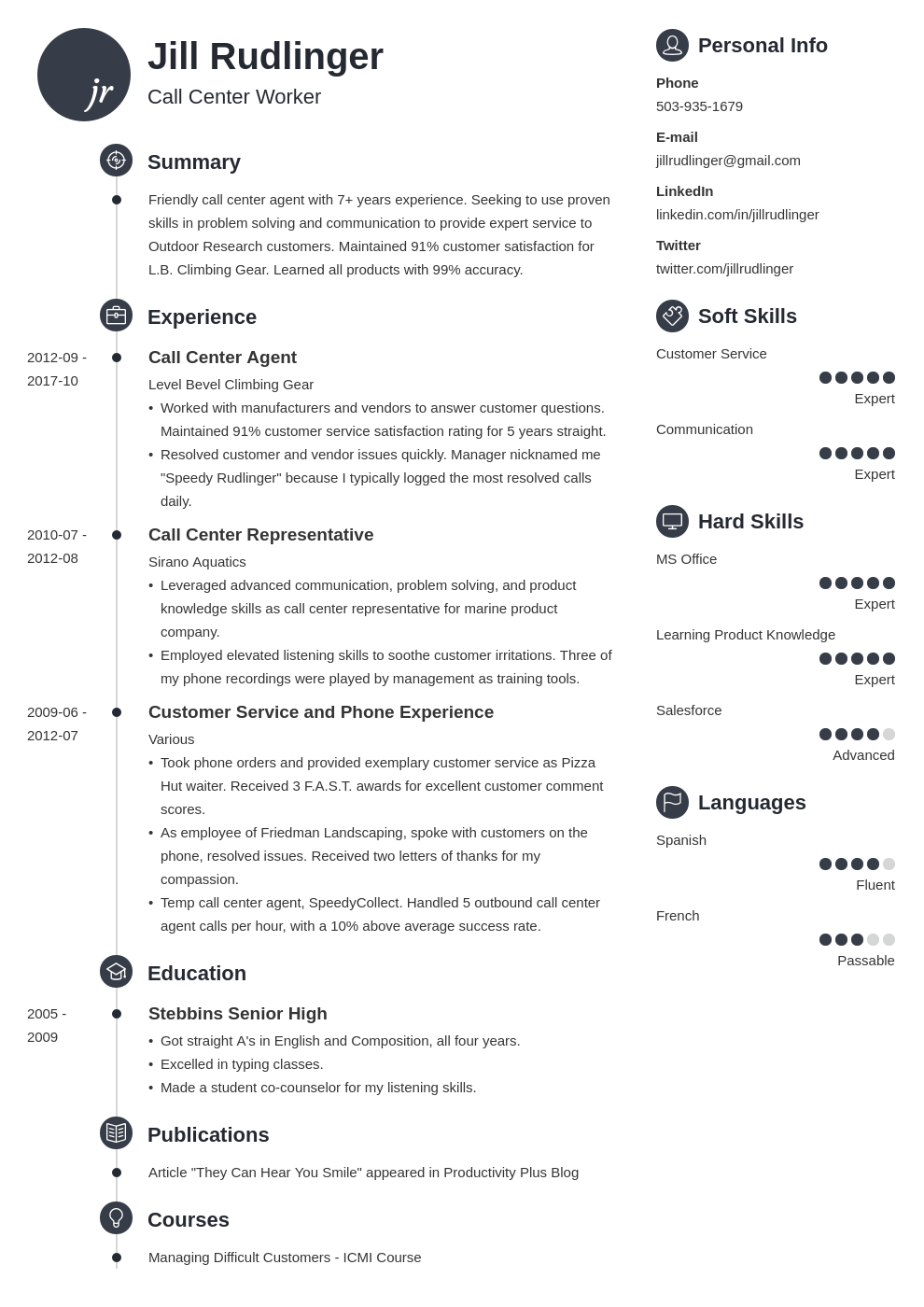 call center resume example template primo