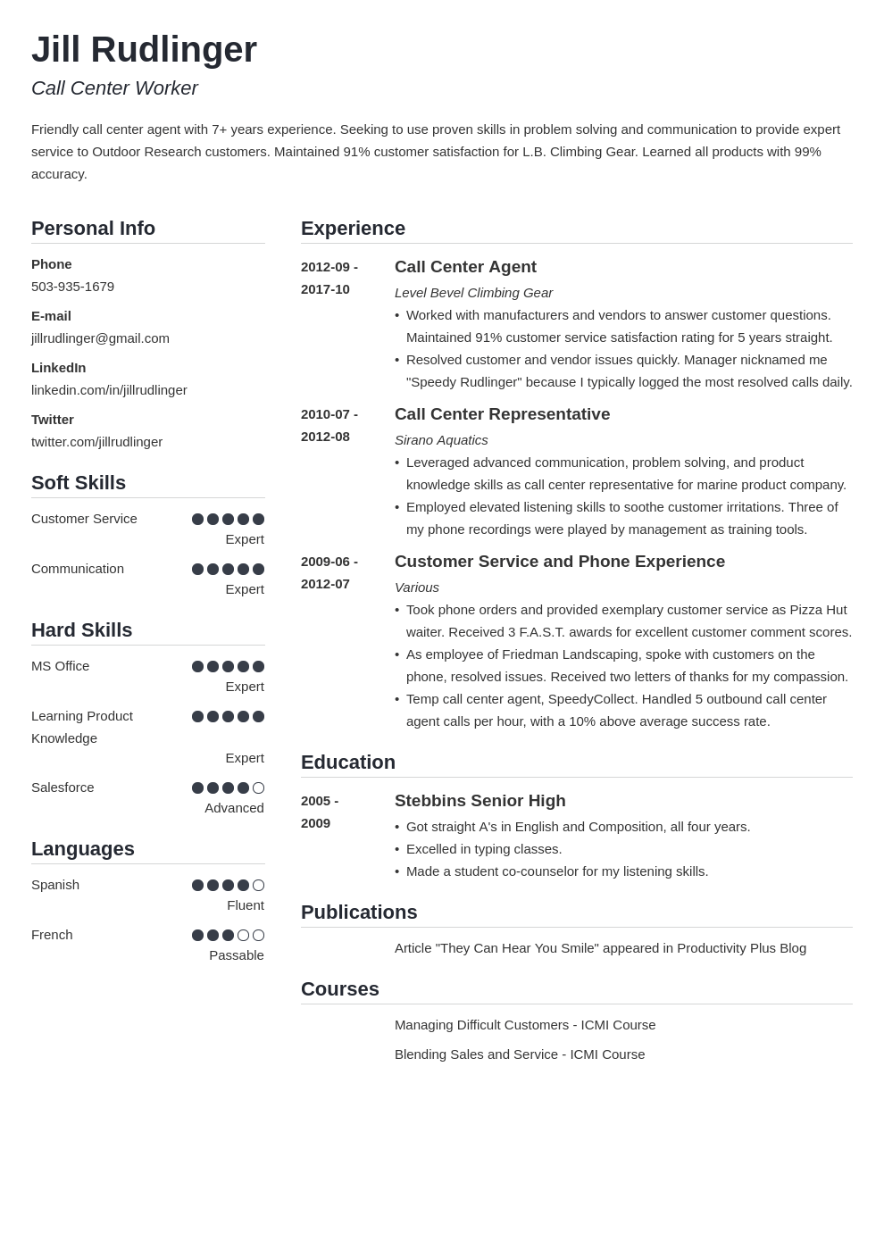 call center resume example template simple