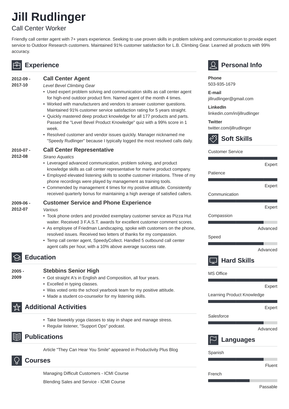 Call Center Resume Sample And Complete Guide 20 Examples