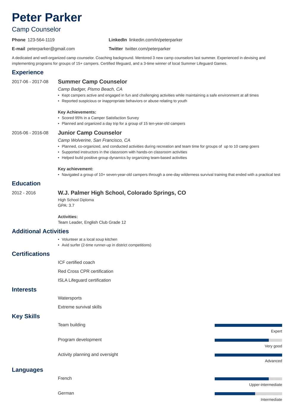 Camp Counselor Resume | Camp Counselor Resume Sample And Writing Guide 20 Examples