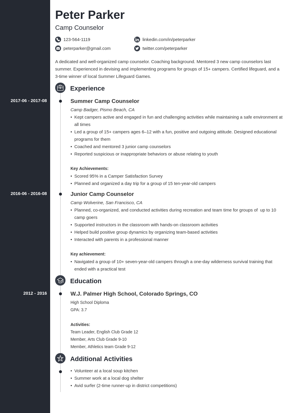 camp counselor resume example template concept