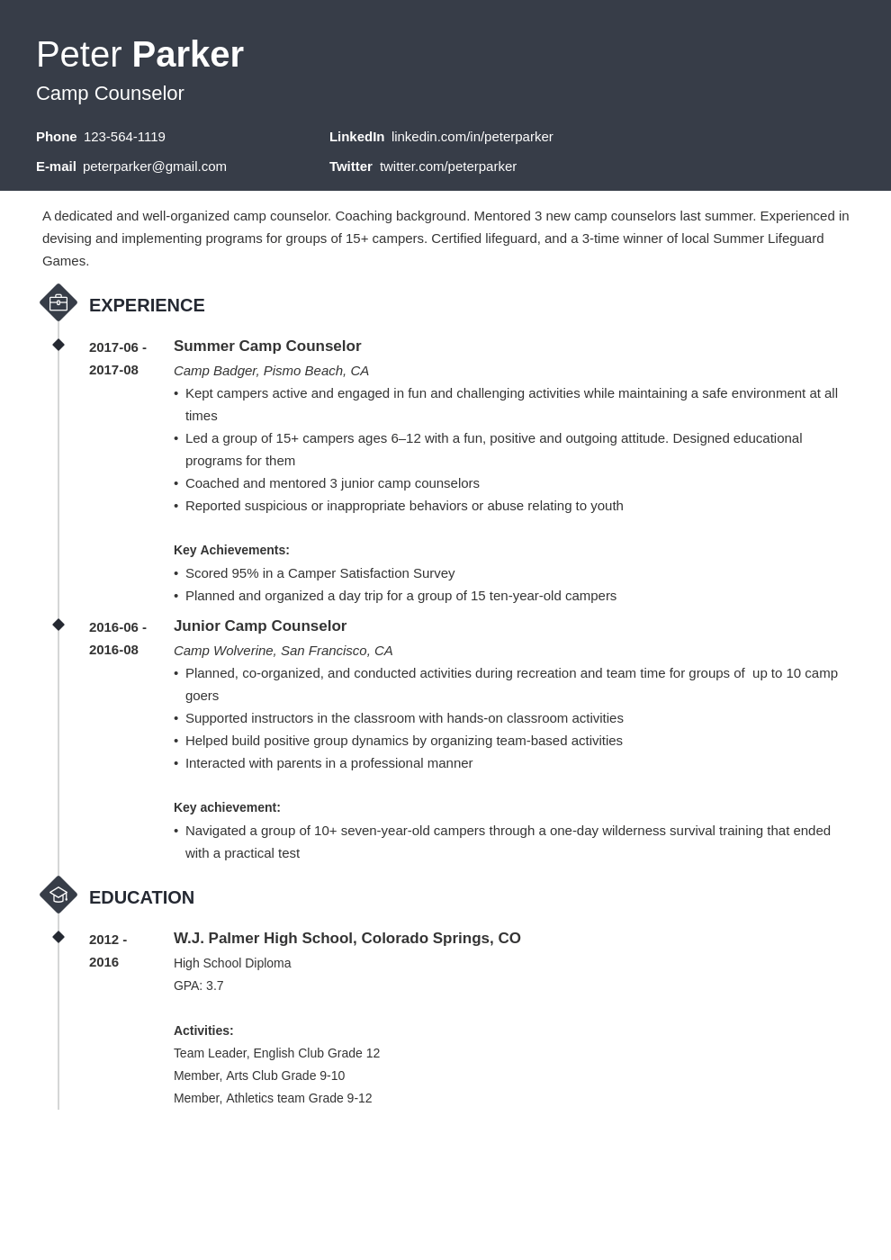 camp counselor resume example template diamond