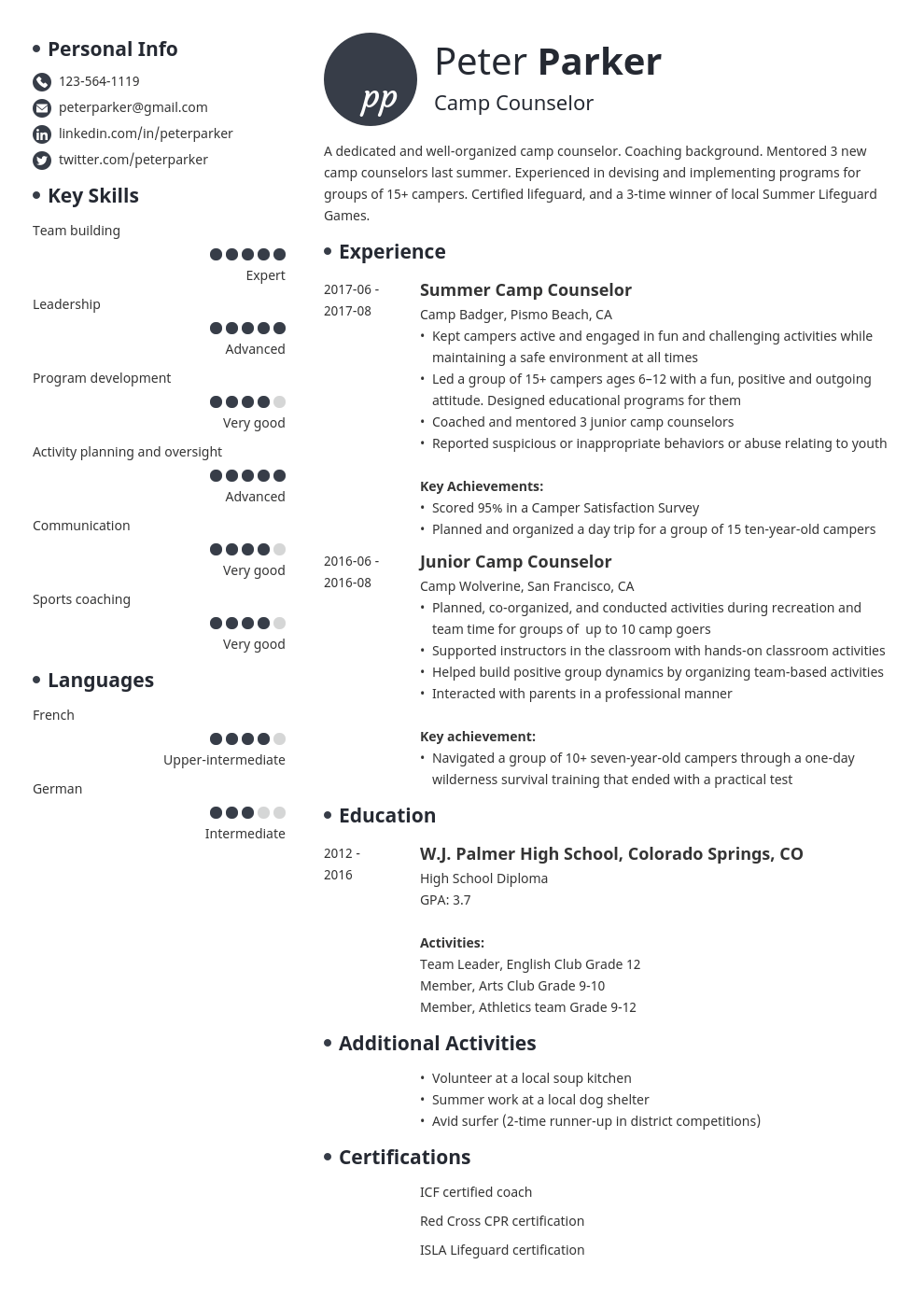 camp counselor resume example template initials