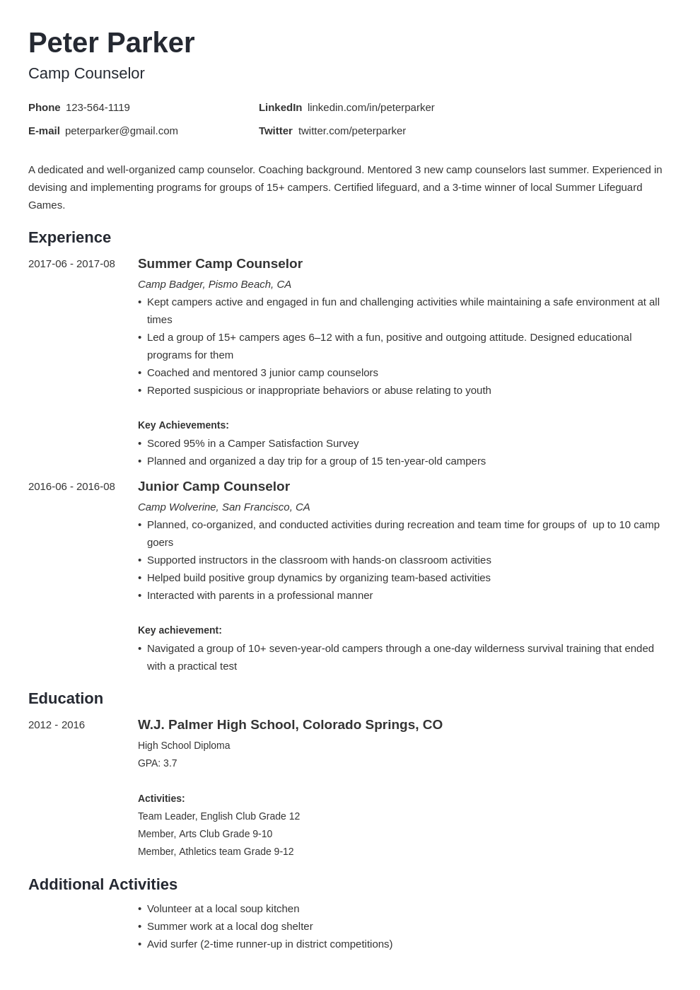 camp counselor resume example template minimo