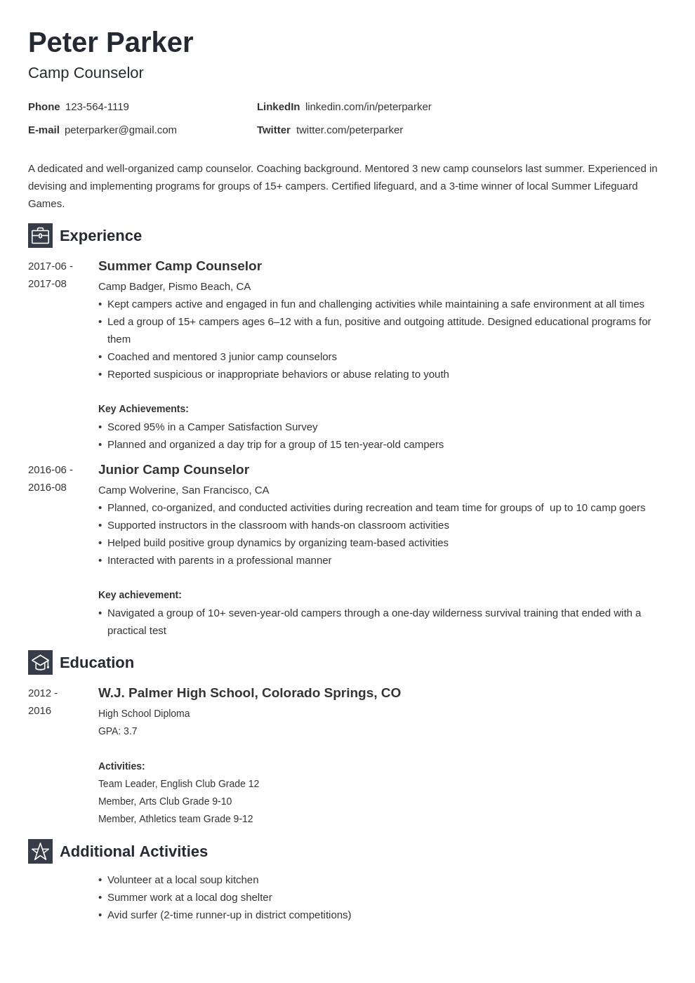 camp counselor resume example template newcast