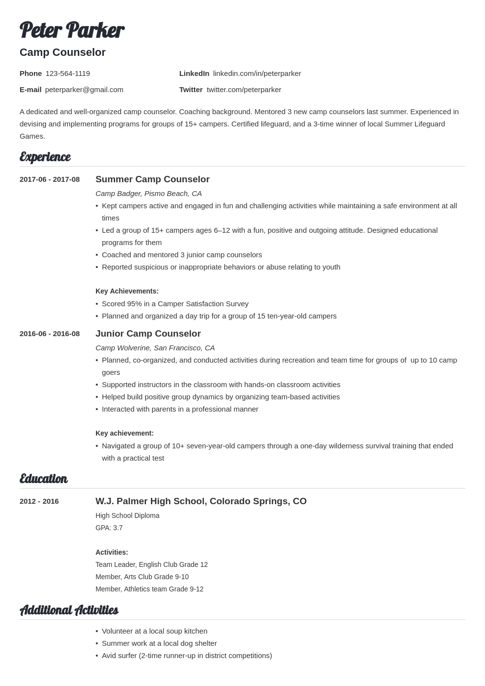 camp counselor resume example template valera