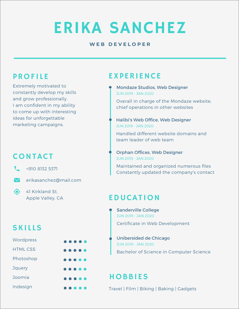 canva resume