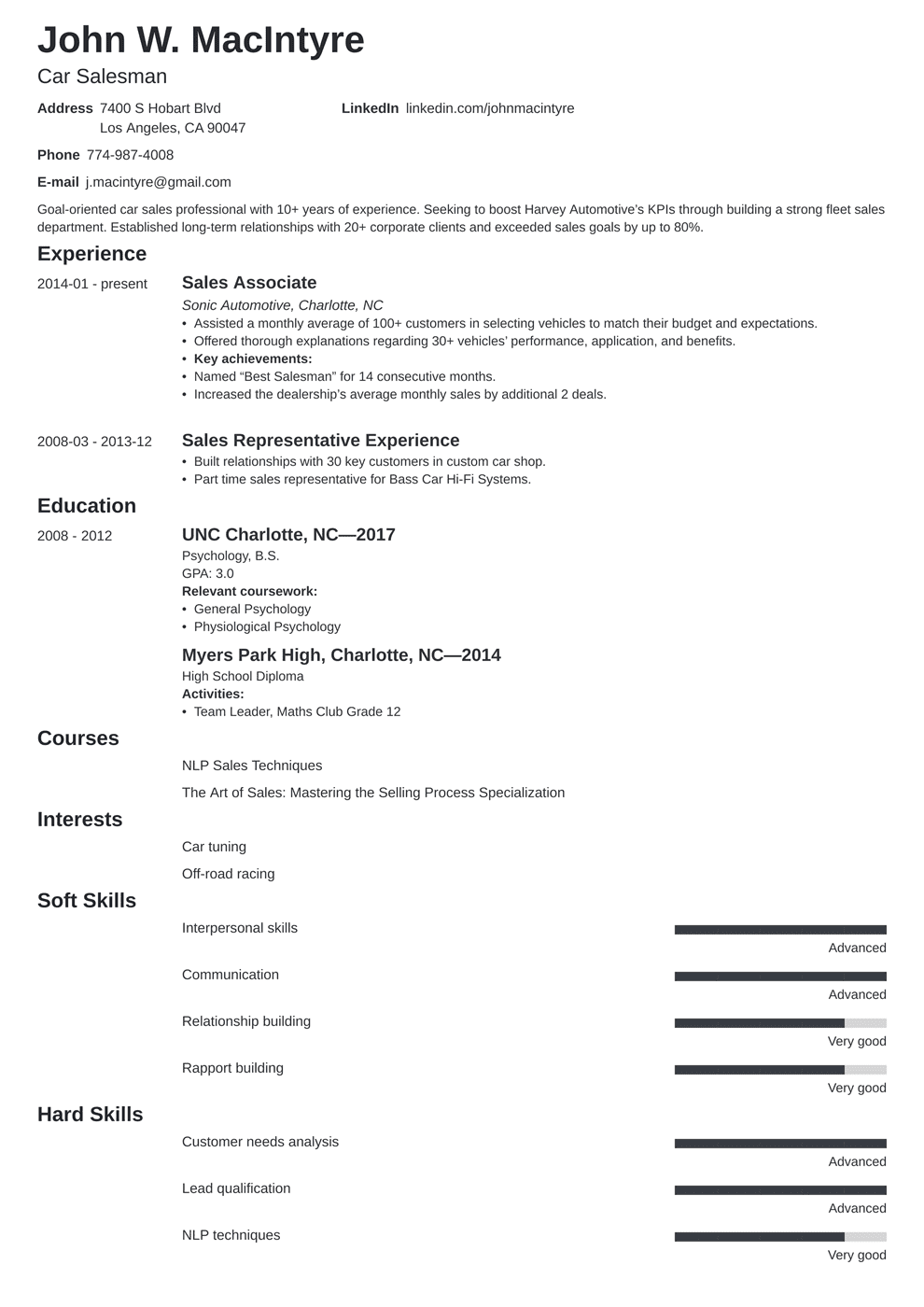 Car Salesman Resume Example & Guide [20+ Tips]